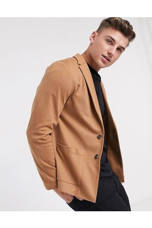 ASOS Skinny soft tailored suit jacket in jersey in tan