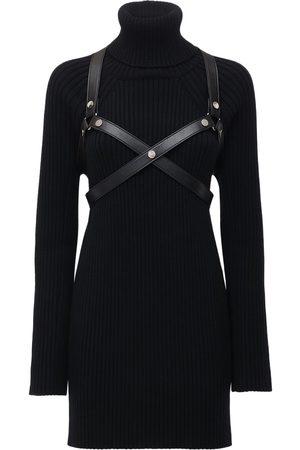JUNYA WATANABE Wool Rib Knit Mini Dress W/ Harness