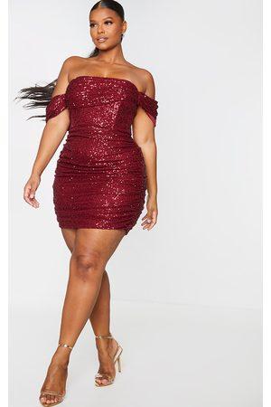 PRETTYLITTLETHING Plus Burgundy Sequin Bardot Bodycon Dress