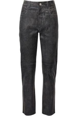Isabel Marant Women Leather Pants - Tea Leather Straight Pants