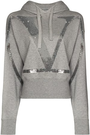 VALENTINO VLOGO cropped sequinned hoodie - Grey