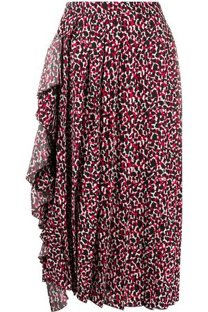 Nº21 Abstract-print ruffle-detail midi skirt