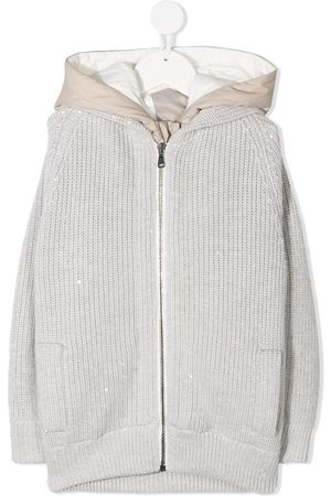 Brunello Cucinelli Hooded ribbed-knit coat - Grey