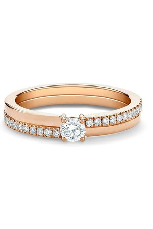 De Beers Jewellers 18kt rose The Promise small round brilliant diamond ring