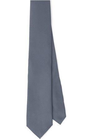 Prada Men Bow Ties - Embroidered-logo silk tie - Grey
