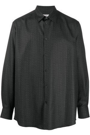 VALENTINO VLTN-print wool shirt - Grey