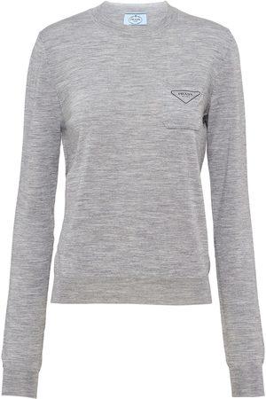 Prada Logo-print long-sleeve jumper - Grey