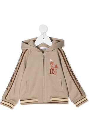 Dolce & Gabbana Fox-embroidery zip-up hoodie - Neutrals