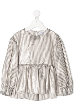 Brunello Cucinelli Girls Blouses - Striped flared blouse - Grey
