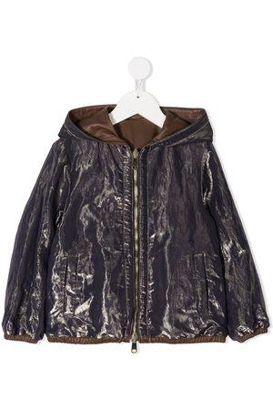Brunello Cucinelli Metallic crinkled-effect hooded jacket