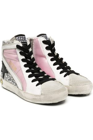 Golden Goose Girls Sneakers - Slide glitter leather high-top sneakers