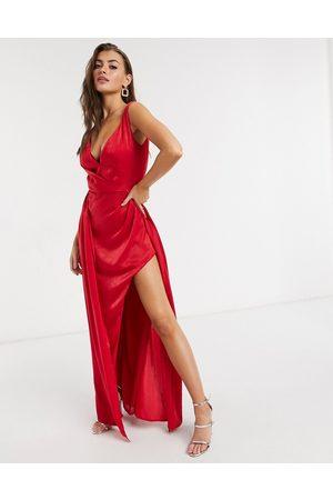 Yaura Plunge neck high low midaxi dress in fiery