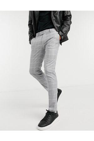 Topman Skinny smart pants with light check-Grey