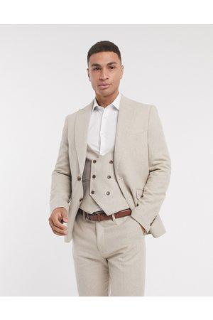 Gianni Feraud Slim fit herringbone wool suit jacket-Cream