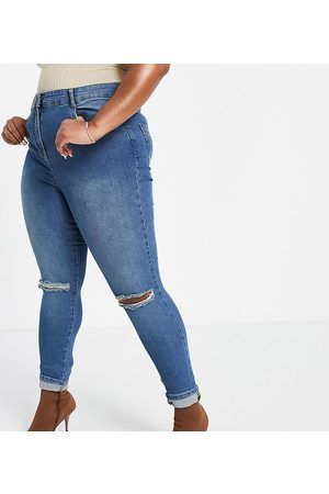 Yours Ripped knee skinny jeans in vintage