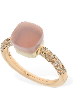Pomellato Women Rings - Nudo 18kt Thin Ring W/ Quartz & Diamond