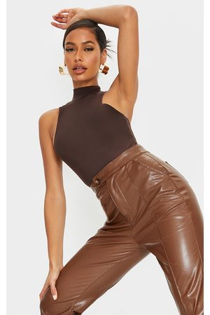 PRETTYLITTLETHING Chocolate Slinky High Neck Extreme Racer Bodysuit