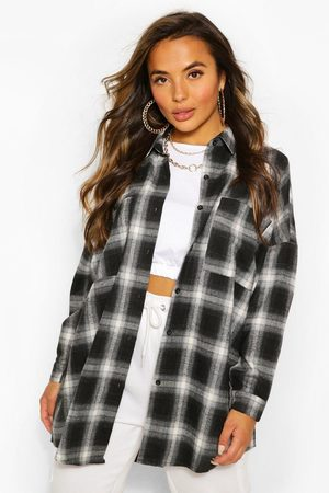 Boohoo Womens Petite Oversized Flannel Shirt - - 2