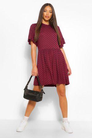 Boohoo Womens Tall Polka Dot Smock Dress - - 2