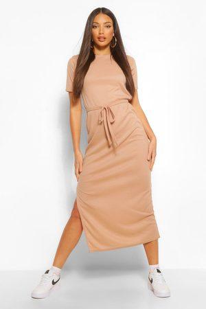Boohoo Womens Tall Side Split Belted Rib T-Shirt Dress - - 2