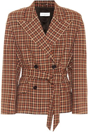 DRIES VAN NOTEN Checked wool-blend blazer