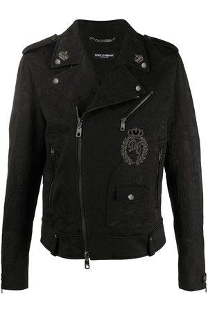 Dolce & Gabbana Men Leather Jackets - Floral brocade patch biker jacket