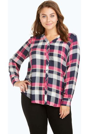 Foxcroft Daisy Plus Plaid Crepe Blouse