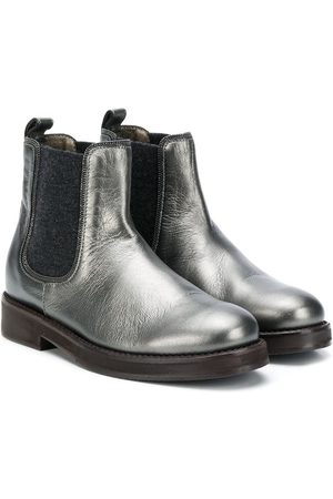Brunello Cucinelli Cracked-effect ankle boots - Grey