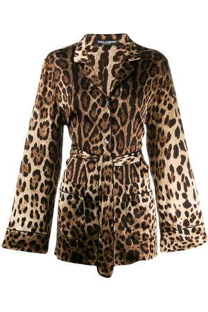 Dolce & Gabbana Leopard-print satin pajama shirt