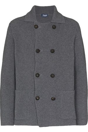 DRUMOHR Men Cardigans - Ribbed-knit double-breasted cardigan - Grey