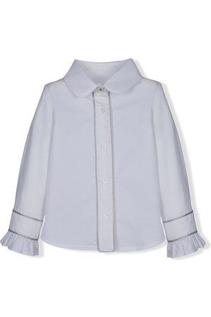 Lapin House Girls Shirts - Contrast-trim ruffled cuffs shirt
