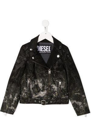 Diesel Girls Bomber Jackets - Metallic-detail biker jacket