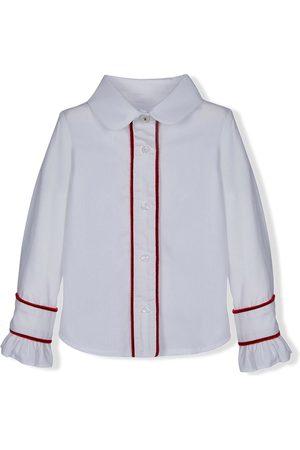 Lapin House Contrast-trim ruffled cuffs shirt