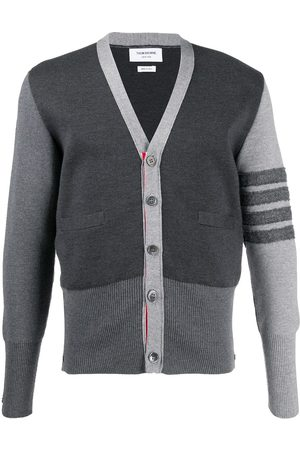 Thom Browne Merino wool contrast sleeve cardigan - Grey