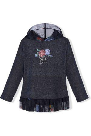 Lapin House Floral-print ruffle-trim hoodie