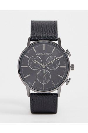 ASOS Classic watch with gunmetal sub dials and saffiano strap