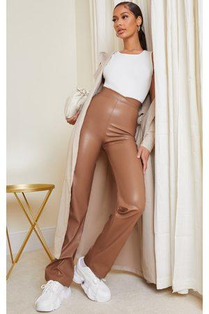 PrettyLittleThing Women Leather Pants - Stone Dip Waist Straight Leg Faux Leather Pants