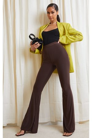 PRETTYLITTLETHING Chocolate Slinky Flared Pants