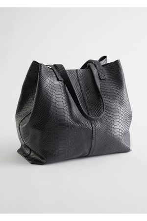 & OTHER STORIES Snake Embossed Leather Tote Bag
