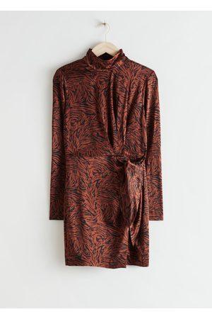 & OTHER STORIES Padded Shoulder Side Tie Mini Dress