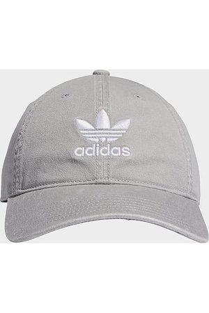 adidas Originals Precurved Washed Strapback Hat in Grey/Stone 100% Cotton