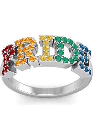 SuperJeweler 1/2 Carat Rainbow Pride Gemstone Ring in 14K (3.70 g)