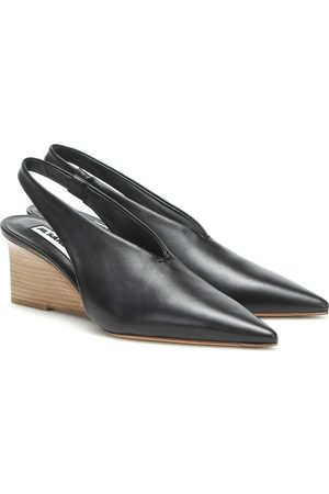 Jil Sander Leather wedge slingback pumps