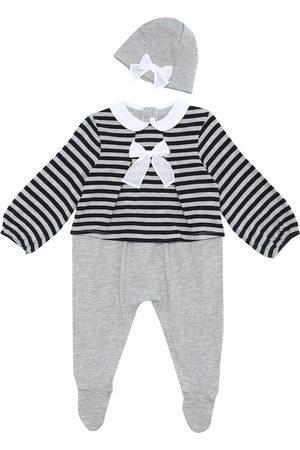 Il gufo Baby striped onesie and hat set