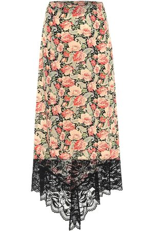 Paco rabanne Floral stretch-jersey midi skirt