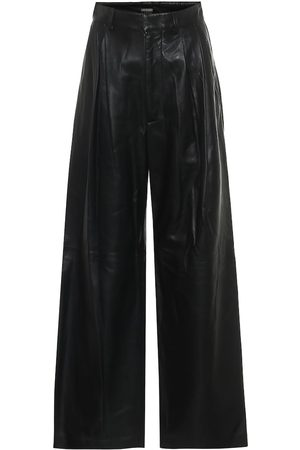 DODO BAR OR Women Leather Pants - High-rise wide-leg leather pants