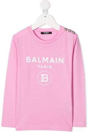 Balmain Girls Long Sleeve - Logo print long-sleeved top