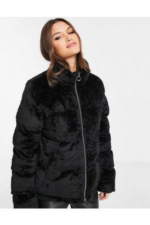 QED London Faux fur puffer jacket in