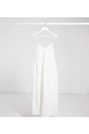 ASOS ASOS DESIGN Maternity soft denim shirred waist v-neck slip maxi dress