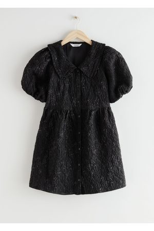 & OTHER STORIES Buttoned Puff Sleeve Jacquard Mini Dress